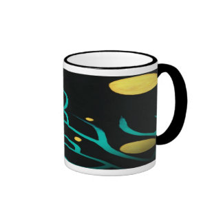 Abstract Tree Branch w Golden Circles Coffee Mugs