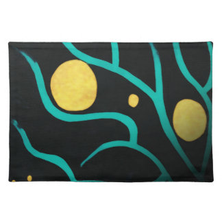 Abstract Tree Branch w/ Golden Circles Placemat