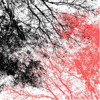 Abstract tree branches in black and orange cutout