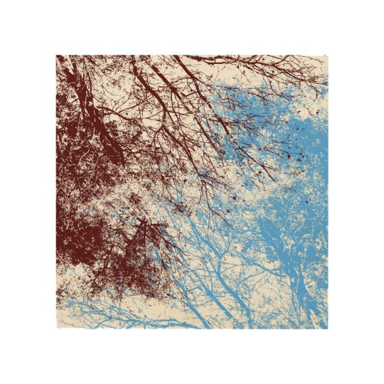 Abstract tree branches in burgundy and light blue wood wall art ...