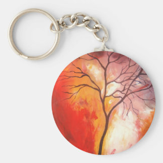 Abstract Tree Canvas Painting Keychain