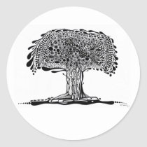artsprojekt, nature, ink, leaves, abstract, garden, blackandwhite, original, contemporary, tree, plants, drawing, Sticker with custom graphic design