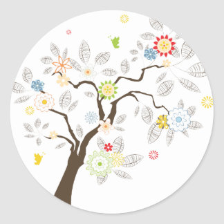 Abstract Tree Classic Round Sticker