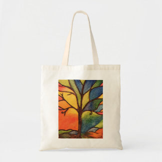 Abstract Tree, Colourful Stained Glass Effect Tote Bag