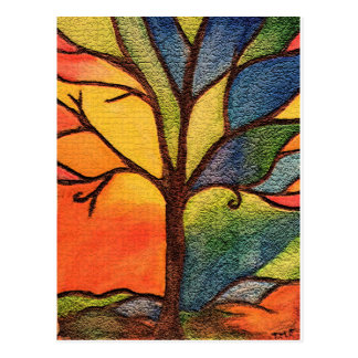 Abstract Tree Colourful Texture Effect Postcard