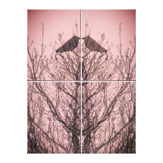 Abstract tree crow bird print pink love birds