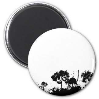abstract tree gothic 2 inch round magnet