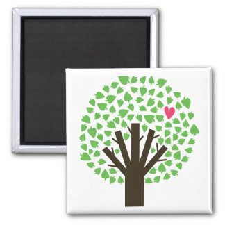 Abstract Tree Hugger 2 Inch Square Magnet