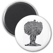 artsprojekt, nature, ink, leaves, abstract, garden, blackandwhite, original, contemporary, tree, plants, drawing, Ímã com design gráfico personalizado