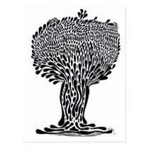 artsprojekt, nature, ink, leaves, abstract, garden, blackandwhite, original, contemporary, tree, plants, drawing, Postcard with custom graphic design