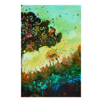 abstract tree landscape personalized stationery