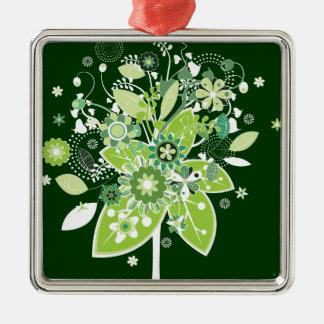Abstract Tree Square Metal Christmas Ornament