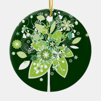 Abstract Tree Double-Sided Ceramic Round Christmas Ornament