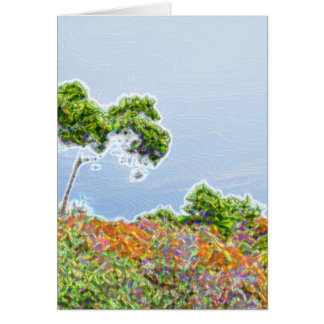abstract tree over dunes sparkle card