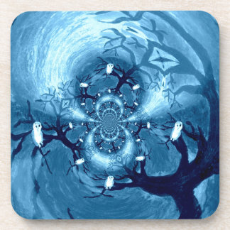 Abstract Tree Owls Art Beverage Coaster