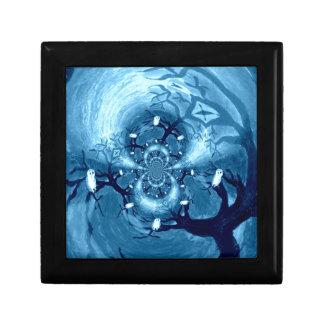 Abstract Tree Owls Jewelry Box