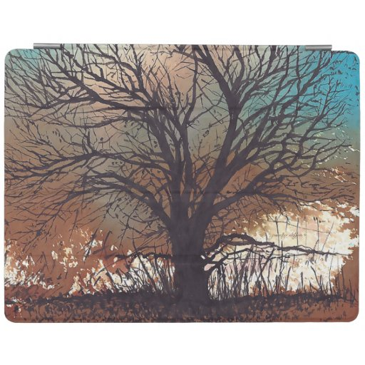 Abstract Tree Pen Ink Watercolor Art iPad Smart Cover