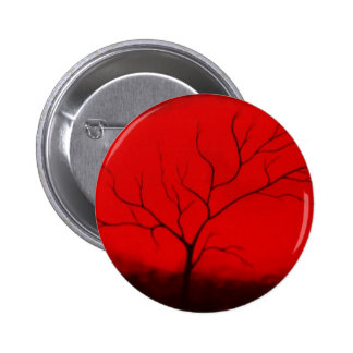 Abstract Tree & Red Sky Original Abstract Art Deco 2 Inch Round Button
