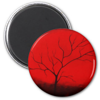 Abstract Tree & Red Sky Original Abstract Art Deco Magnet