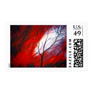 Abstract Tree & Red Sky Original Artwork Stamp