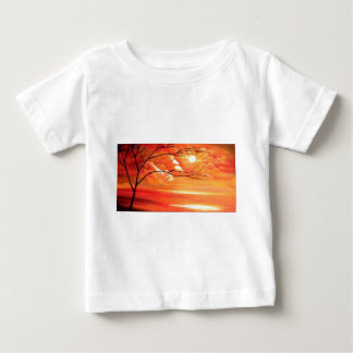 Abstract Tree & Red Sunset Baby T-Shirt