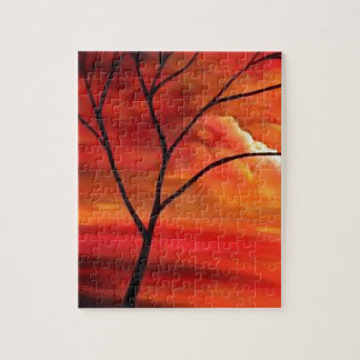 Abstract Tree & Red Sunset Jigsaw Puzzle