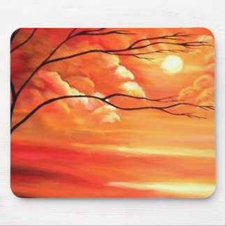 Abstract Tree & Red Sunset Mouse Pad