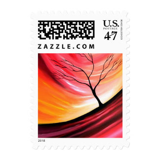 Abstract Tree & Red Sunset Stamps