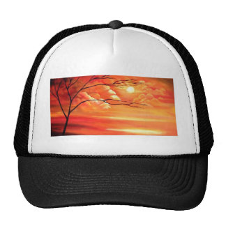 Abstract Tree & Red Sunset Trucker Hat