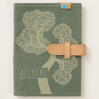 Abstract tree with circle leaves handmade canvas journal
