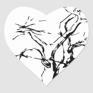 Abstract tree with fallen leaves heart sticker