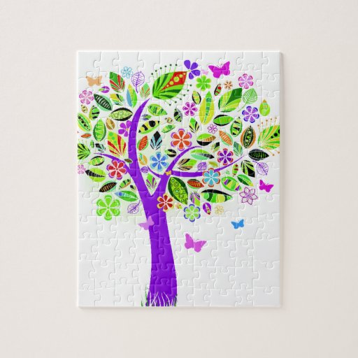 Abstract Tree with Flower Patterns Puzzles