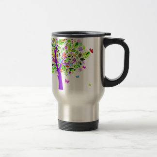 Abstract Tree with Flower Patterns Travel Mug
