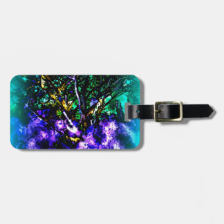 Abstract tree with Light Blue Border Bag Tag