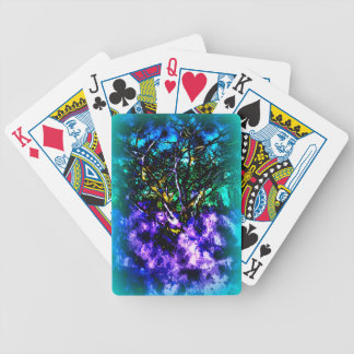 Abstract tree with Light Blue Border Bicycle Playing Cards
