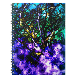 Abstract tree with Light Blue Border Notebook