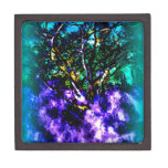 Abstract tree with Light Blue Border Premium Gift Box