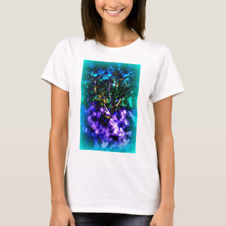 Abstract tree with Light Blue Border T-Shirt