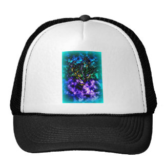 Abstract tree with Light Blue Border Trucker Hat