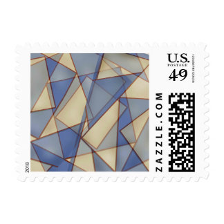 Abstract Triangle Blue and Yellow Stamp