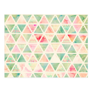Abstract Triangles Pattern Pink Turquoise Tie dye Postcard