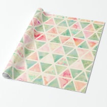 Abstract Triangles Pattern Pink Turquoise Tie dye Wrapping Paper