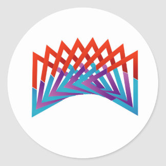 Abstract triangular colorful design element classic round sticker