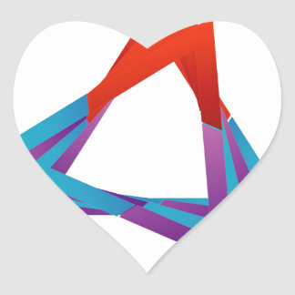 Abstract triangular colorful design element heart sticker