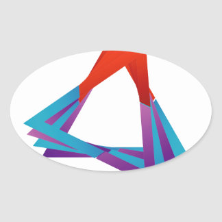 Abstract triangular colorful design element oval sticker