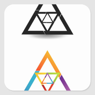 Abstract triangular colorful design element square sticker