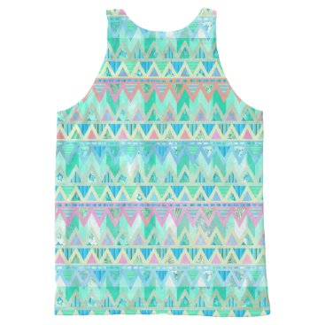Aztec Themed Abstract Tribal Aztec Muted Pastel Mint Green Art All-Over-Print Tank Top