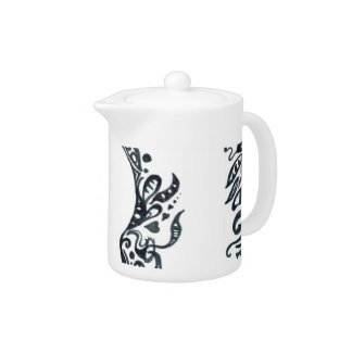 Abstract Tribal design silhouette head Teapot
