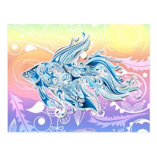 Abstract Tribal Fish Postcard