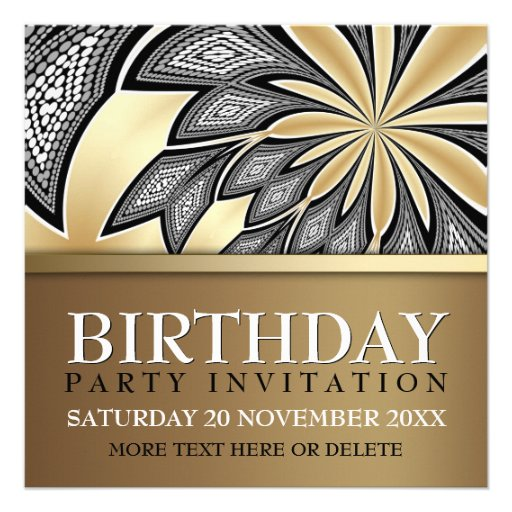 Abstract Tribal Golden Birthday Party Invitation